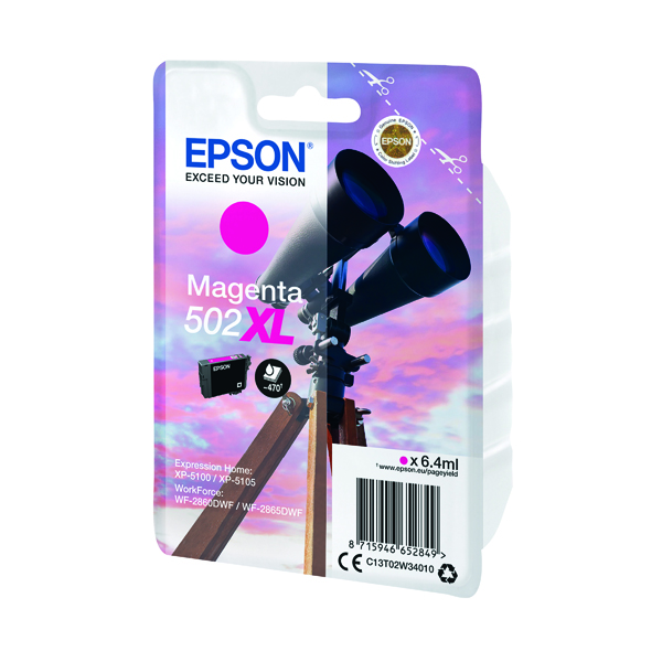 Epson Singlepack 502XL Ink Magenta (Capacity: 470 pages) C13T02W34010