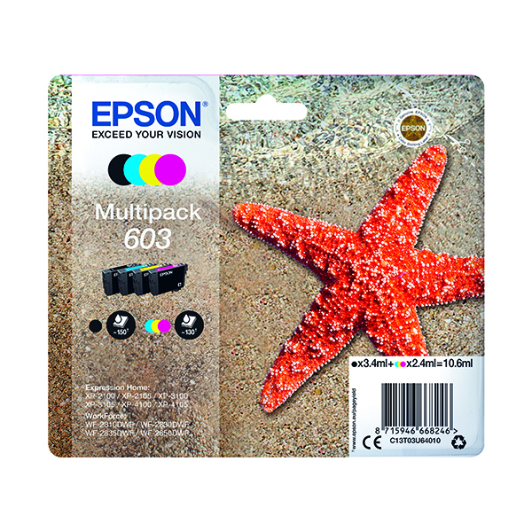 Epson Starfish 603 CMYK Ink Multipack C13T03U64010