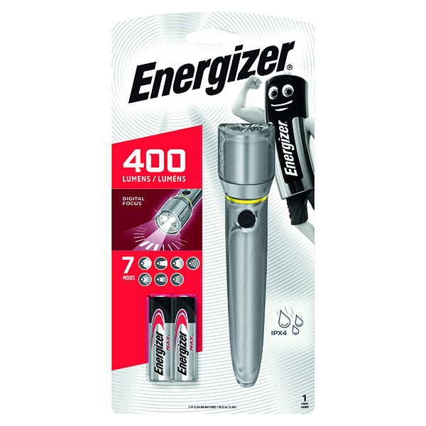 Energizer Metal LED Torch 2xAA Silver 634041
