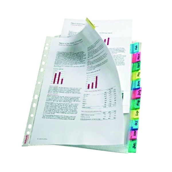 Esselte 12-Tab Index Pocket A4 Assorted 414170