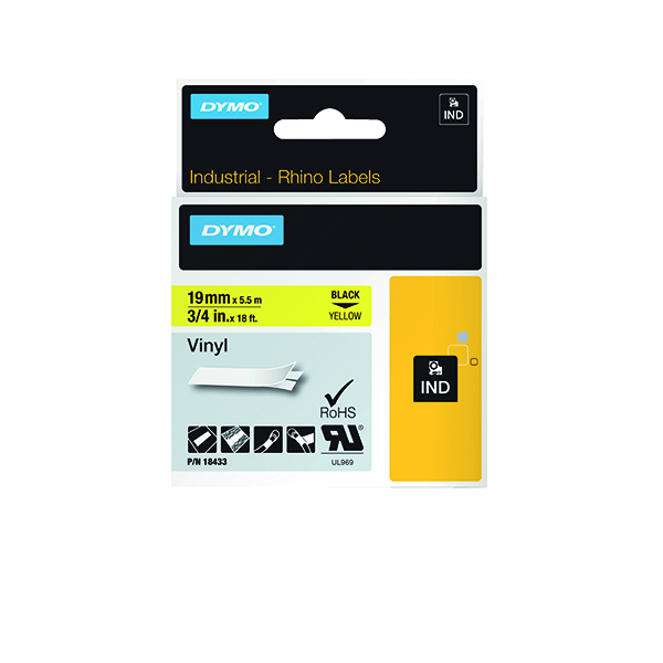 Dymo 18433 Rhino Vinyl Tape 19mm x 5.5m Black on Yellow S0718470