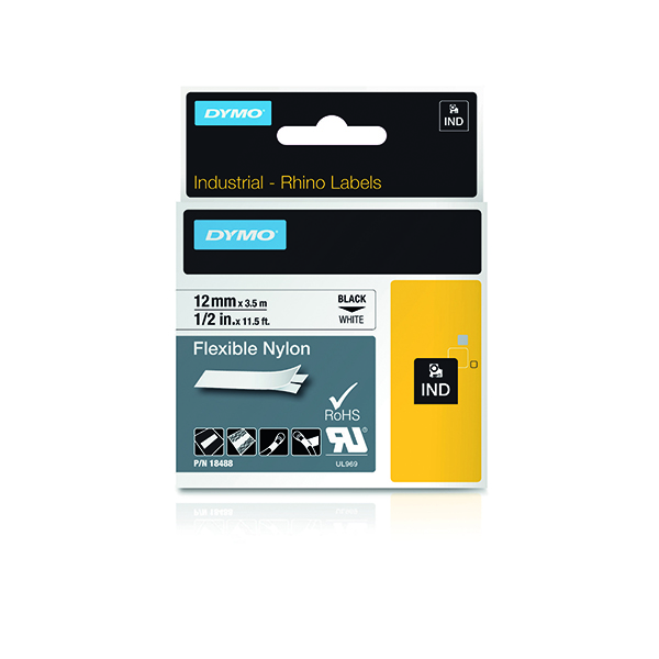 Dymo 18488 Rhino Nylon Tape 12mm x 3.5m Black on White S0718100