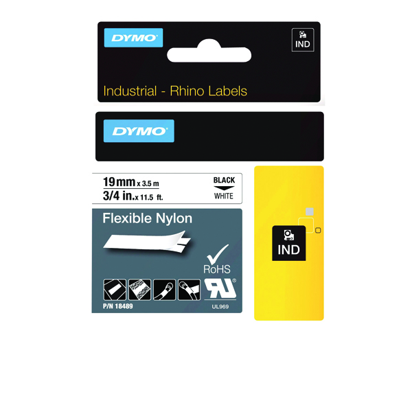 Dymo 18489 Rhino flexible nylon tape black on white 19mm 18489