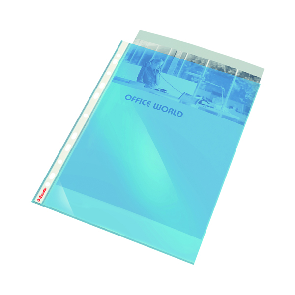 Esselte Punched Pocket 55 Mic Polypropylene A4 Blue (Pack of 10) 47205