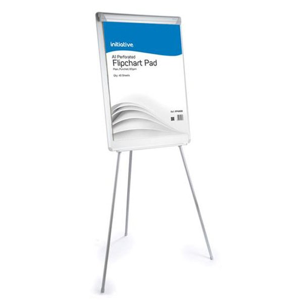 Initiative Retractable Flipchart Easel With Drywipe Surface and Pen Tray