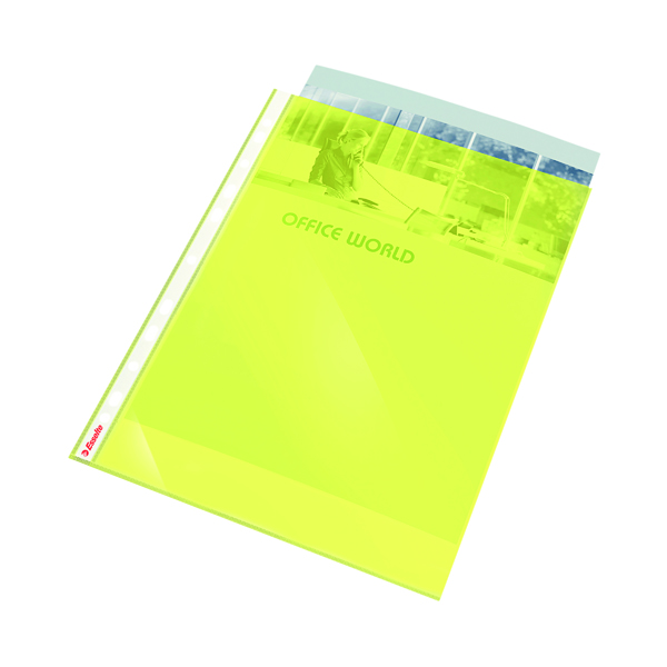Esselte Punched Pocket Polypropylene A4 Yellow (Pack of 10) 47201
