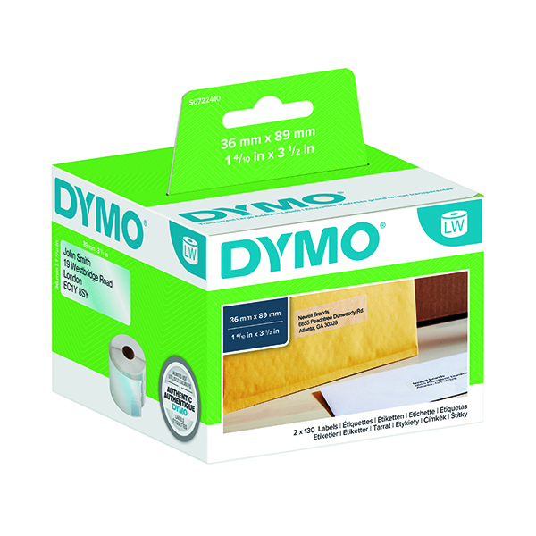 Dymo LabelWriter Large Address Labels 89 x 36mm Transparent S0722410