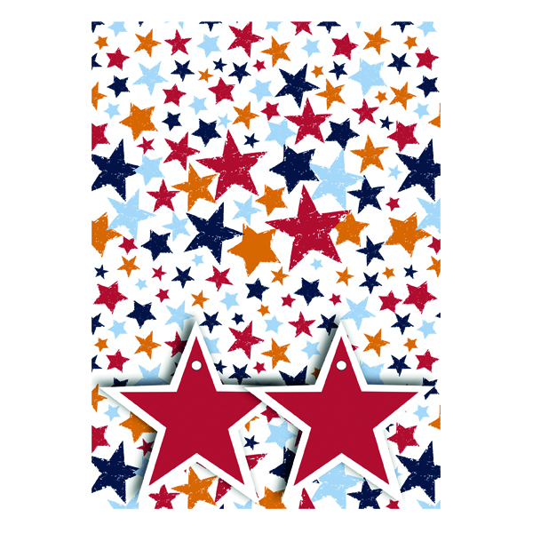 Star Print Gift Wrap and Tags (Pack of 12) 27240-2S2T