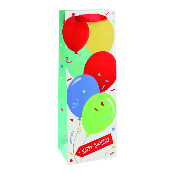 Image for Happy Birthday Balloon Bottle Bag (Pack of 6) 26952-4