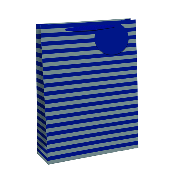 Striped Gift Bag Medium Blue/Silver (Pack of 6) 26655-3