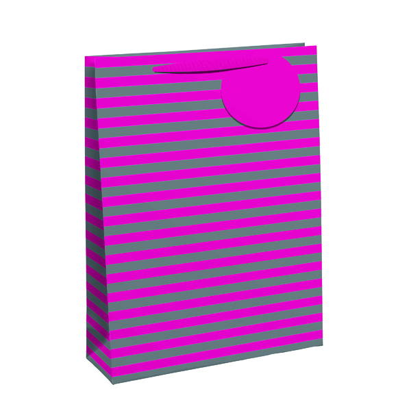 Striped Gift Bag Large Pink/Silver (Pack of 6) 26652-2