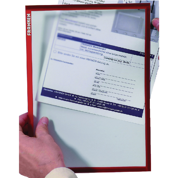Franken Magnetic Document Holder A4 Red (Pack of 5) ITSA4M 01