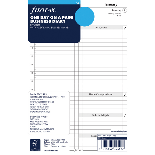 Image for Filofax Refill A5 Day Per Page 2020 20-68519