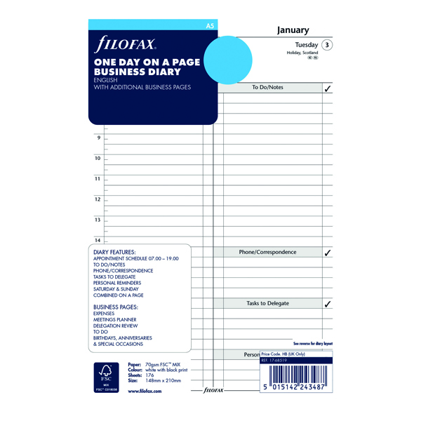 Image for Filofax Refill Day Per Page A5 2021 21-68519