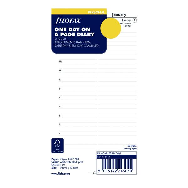 Filofax Refill Day Per Page Personal 2021 21-68441