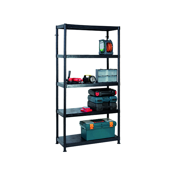 Image for Barton 5 Tier Plastic Shelving 1840x900x400mm Black G09045