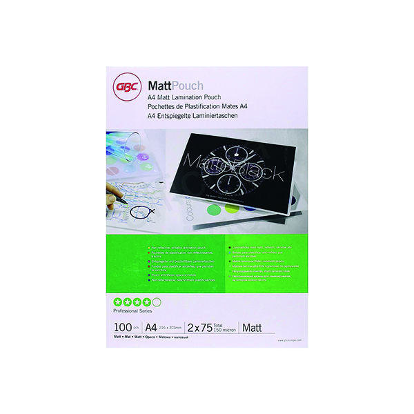 GBC Premium A4 Laminating Pouches 150 Micron (Pack of 100) 3747240