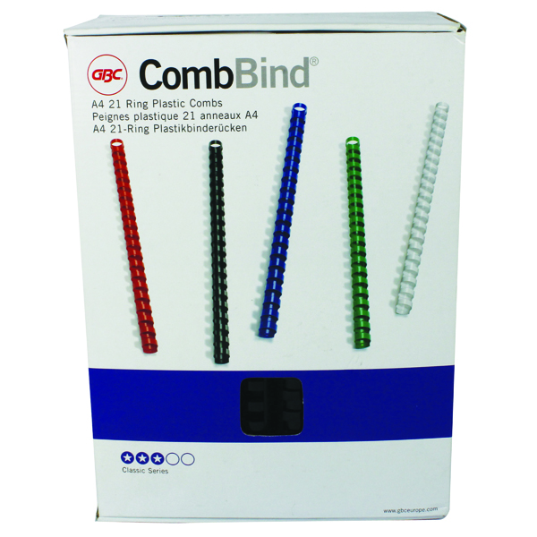 GBC CombBind Binding Combs 22mm Black (Pack of 100) 4028602