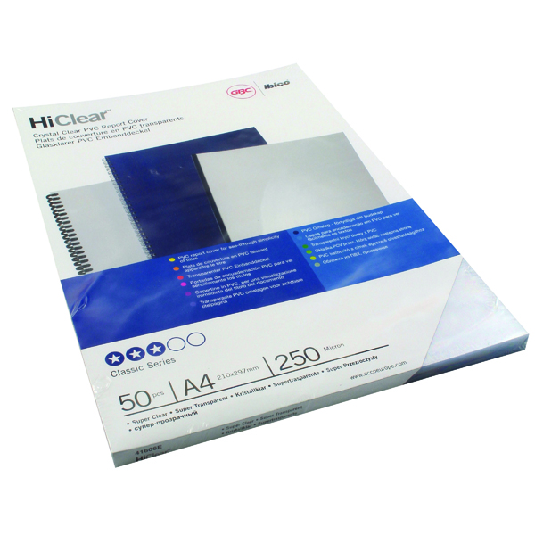 GBC HiClear A4 Binding Cover 250 Mic Super Clear (Pack of 50) 41606E