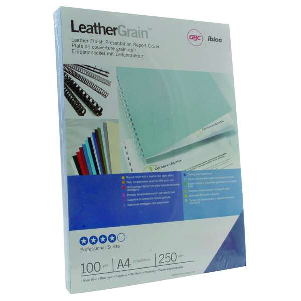 GBC LeatherGrain A4 Royal Binding Covers Blue (Pack of 100) CE040029