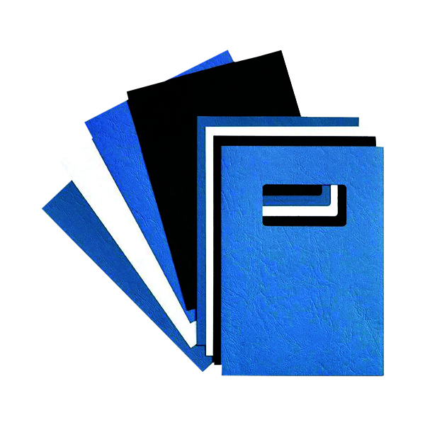 GBC LeatherGrain A4 Title Window Binding Blue (Pack of 50) 46735E