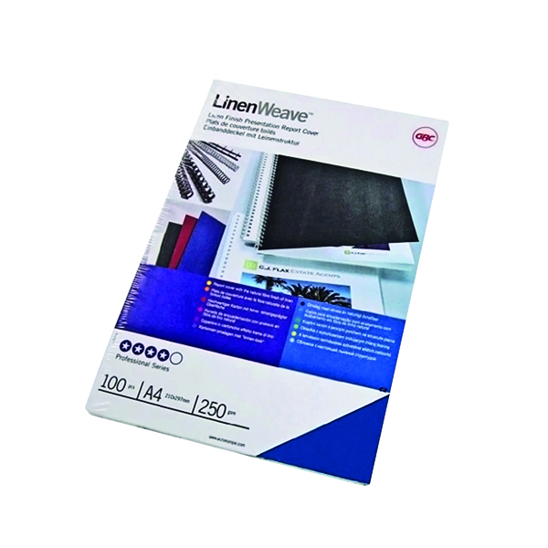 GBC LinenWeave A4 Binding Cover 250 gsm Blue (Pack of 100) CE050029