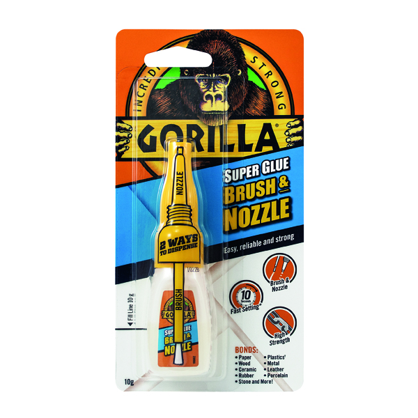 Gorilla Super Glue Brush and Nozzle 10g 100669