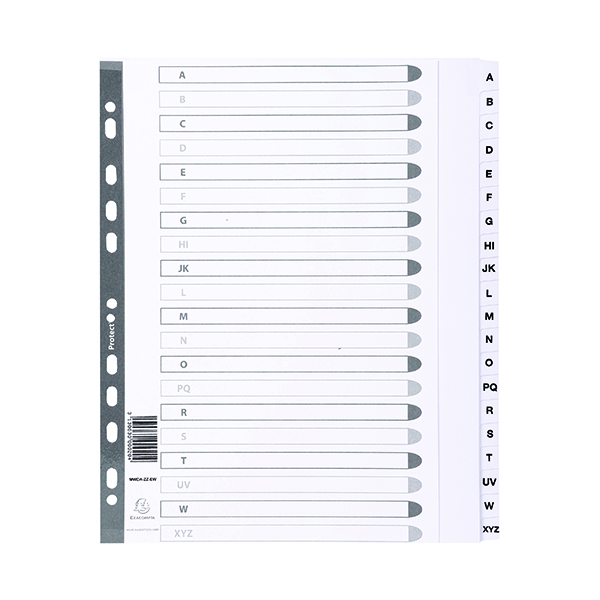 Exacompta Guildhall Mylar Index A-Z A4 White MWDA-ZZ