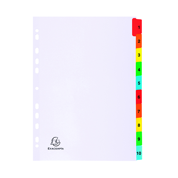 Exacompta Guildhall Mylar Index Coloured Tabs 1-10 A4 White 1110E