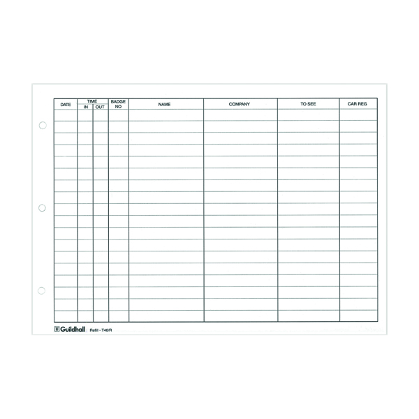 Exacompta Guildhall Loose-Leaf Visitors Book Refill (Pack of 50) T40/R