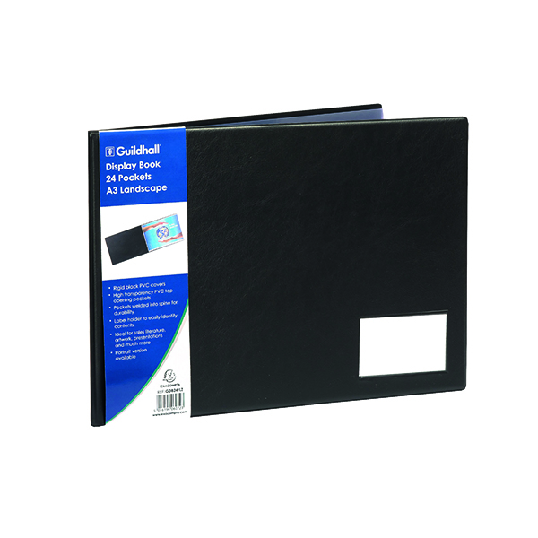 Exacompta Guildhall Display Book Landscape 24 Pocket A3 Black GDB24/L