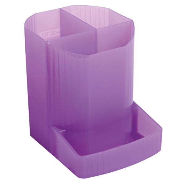 Exacompta Iderama 3 Compartment Pen Pot Purple (W90 x D123 x H110mm) 67519D