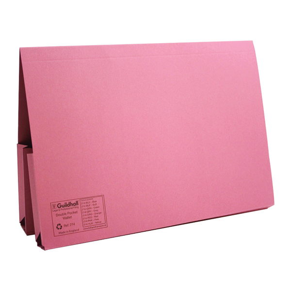 Exacompta Guildhall Legal Double Pocket Wallet Foolscap Pink (Pack of 25) 214-PNK