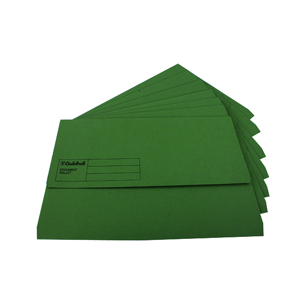 Exacompta Guildhall Document Wallet Foolscap Green (Pack of 50) GDW1-GRN
