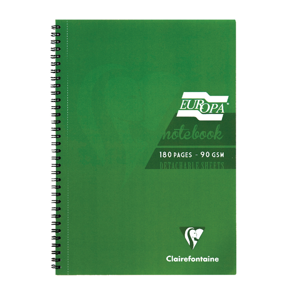 Clairefontaine Europa Notebook 180 Pages A4 Green (Pack of 5) 5800Z