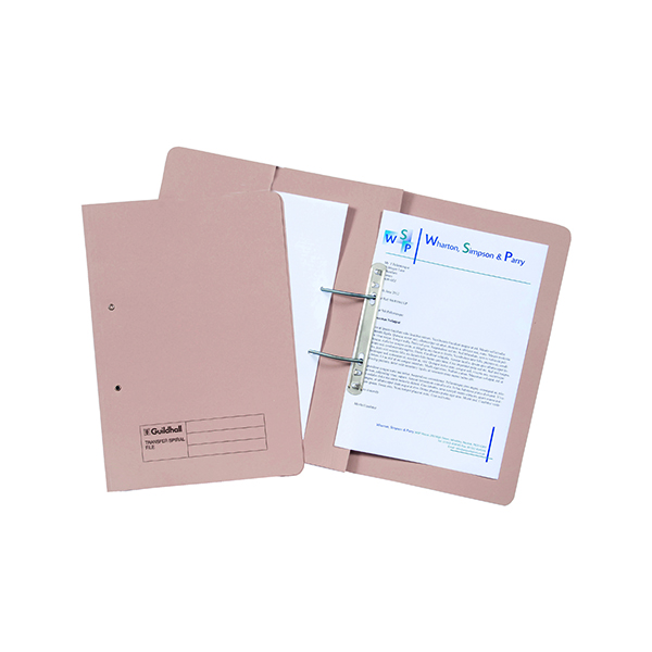 Exacompta Guildhall Transfer Spiral Pocket File 315gsm Foolscap Buff (Pack of 25) 349-BUF