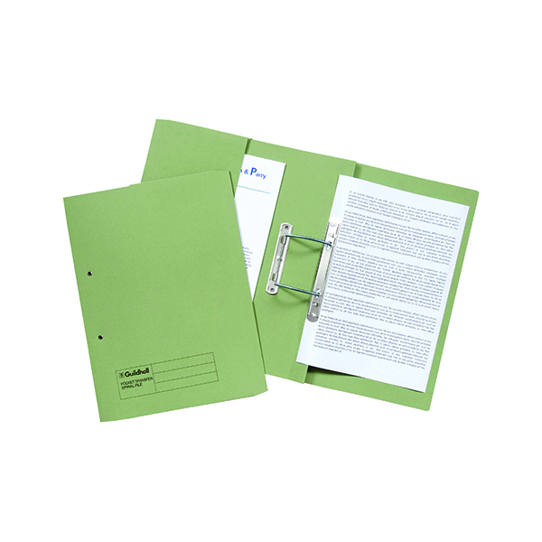 Exacompta Guildhall Transfer Spiral Pocket File 315gsm Foolscap Green (Pack of 25) 349-GRN