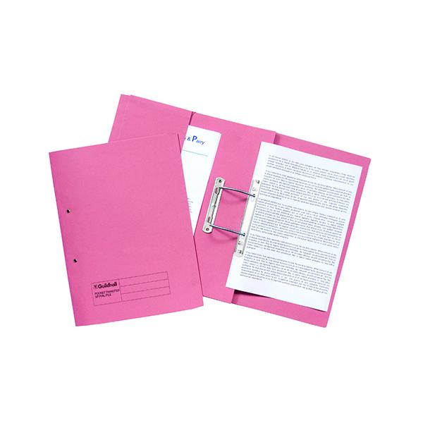 Exacompta Guildhall Transfer Spiral Pocket File 315gsm Foolscap Pink (Pack of 25) 349-PNK
