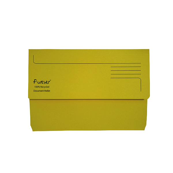 Exacompta Forever Document Wallet Manilla Foolscap Bright Yellow (Pack of 25) 211/5003