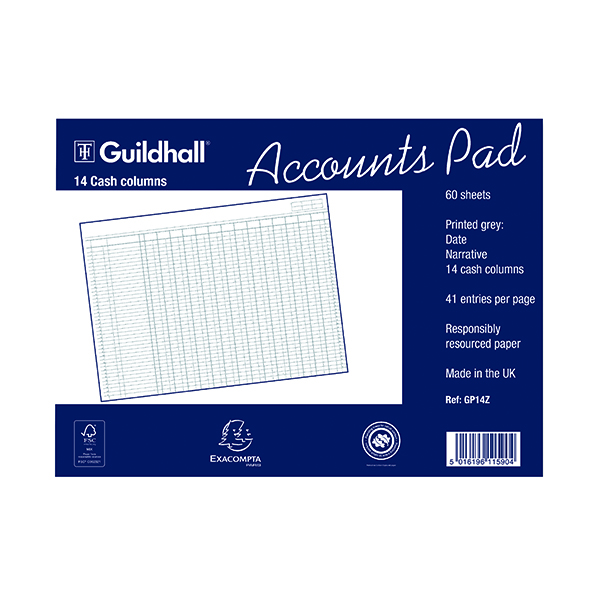 Image for Exacompta Guildhall 14-Column Cash Account Pad 298x406mm GP14