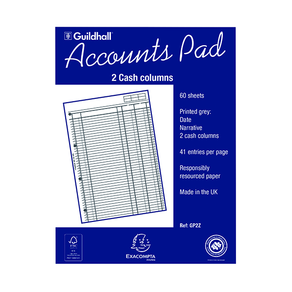 Image for Exacompta Guildhall 2-Column Cash Account Pad A4 GP2