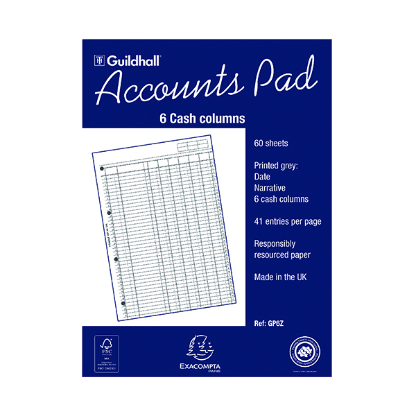 Exacompta Guildhall 6-Column Cash Account Pad A4 GP6