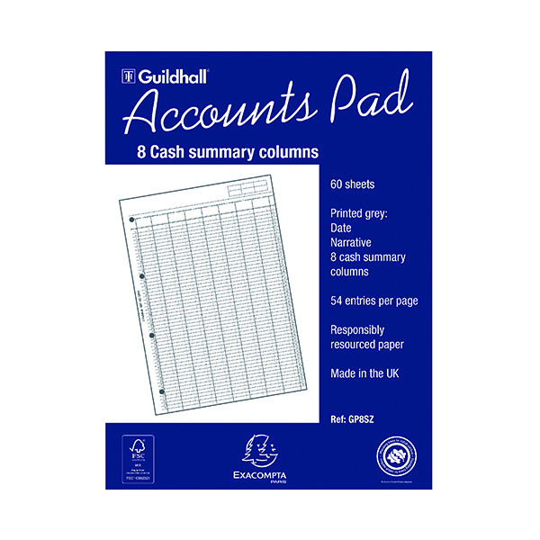 Image for Exacompta Guildhall Account Pad 8-Column Summary A4 GP8S