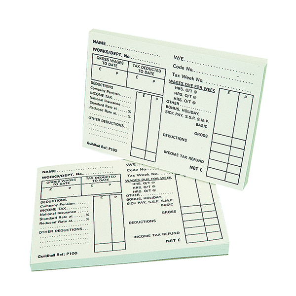 Exacompta Guildhall Pay Slip Pad 100 Leaves (Pack of 5) 1609