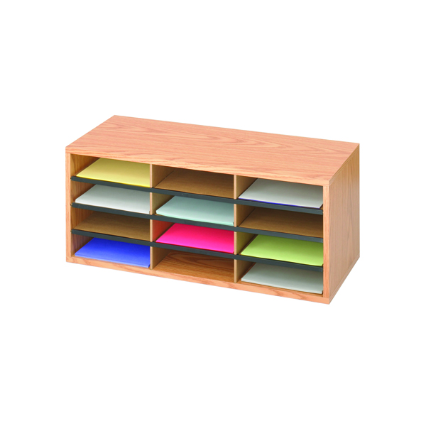 Safco 12 Compartment Literature Organiser Oak 9401MO