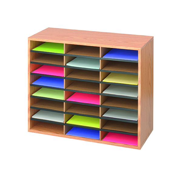 Safco 24 Compartment Literature Organiser Oak 9402MO