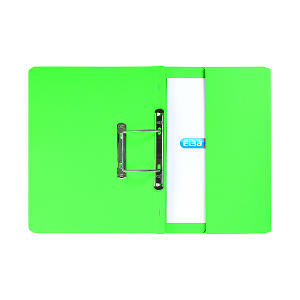 Elba Stratford Spring Pocket File 320gsm Foolscap Green (Pack of 25) 100090147