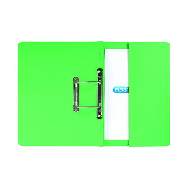 Elba Stratford Spring Pocket File 320gsm Foolscap Green (Pack of 25) 100090147