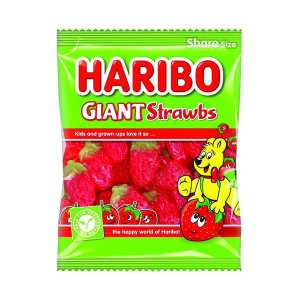 Haribo Giant Strawbs Sweets Share Size Bag 140g (Pack of 12) 095730
