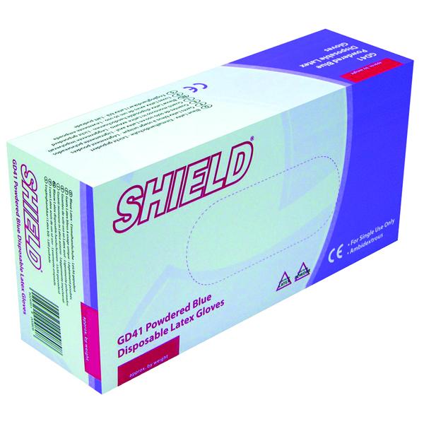 Shield Powdered Blue Medium Latex Gloves (Pack of 100) GD41